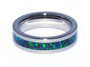 6mm Precious Opal Tungsten Ring with a Brilliant Dark Blue Green Color (With a Deep Green Flash of Fire)