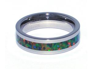 "6mm Precious Opal Tungsten Ring Similiar to ""Traidtional Black Opal"" All Fire Opal Colors"