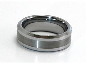 (Sizes 5-15 available) Tungsten Carbide ring, comfort fit w/ satin finish in the center
