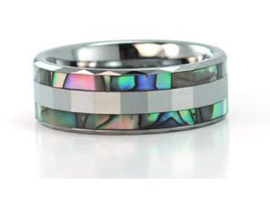 8mm wide faceted tungsten carbide ring with mother of pearl inlays