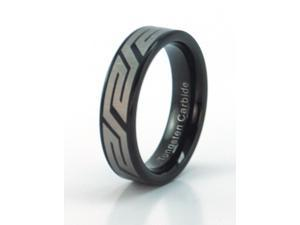 6mm Black Tungsten Carbide Ring, With Unique Pattern