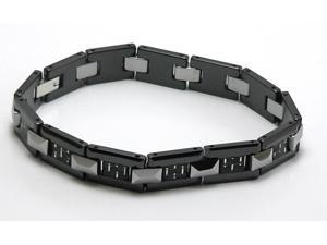 Black ceramic bracelet with silver/black carbon fiber inlay and silver tungsten