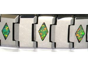 "8"" x 1/3"" Tungsten Carbide Bracelet with inlays of Green PreciousOpal"