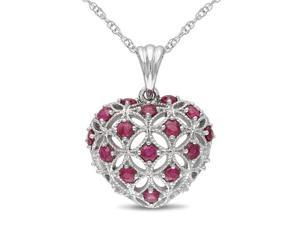 1/2 CT TGW Ruby Heart Pendant With Chain 10k White Gold