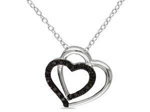 Amour Collections 1/10 CT Black Diamond TW Heart Pendant With Chain Silver Black Rhodium Plated