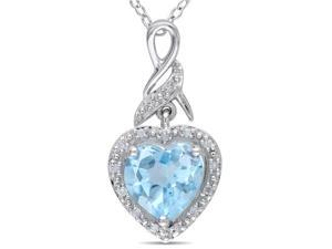 Amour Collections Diamond and Blue Topaz Sky Heart Pendant w/ Silver Chain