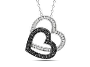 1/3 ct.tw. Black and White Diamond Double Heart Pendant With Silver Necklace Silver