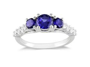 1 1/3 CT TGW Created Blue Sapphire Created White Sapphire Fashion Ring Silver