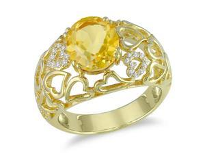 0.06 CT  Diamond TW And 3 3/8 CT TGW Citrine Fashion Ring Yellow Silver GH I3 Yellow Rhodium Plated