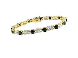 Yellow Gold Overlay Sterling Silver Heart Sapphire and Diamond Bracelet