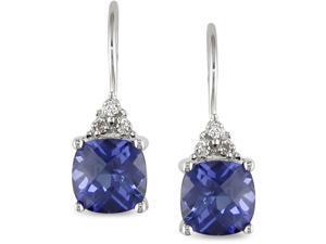 10k Gold Created Tanzanite and Diamond Earrings
