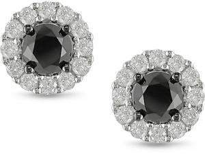 14k White Gold 1.46ct TDW Black Diamond Earrings