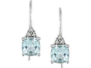 10k White Gold 2 1/2 Carat Sky Blue Topaz and Diamond Hook Earrings