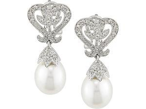 10k Gold 1/10ct TDW Diamond and FW Pearl Earrings (8-8.5 mm)