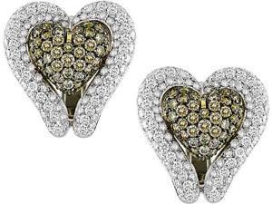 18K Two-tone Gold 7.06 ctw Diamond Heart Earrings, G-H-I,SI