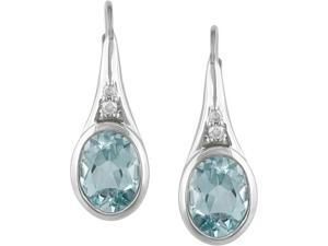 Sterling Silver Blue Topaz and Diamond Earrings