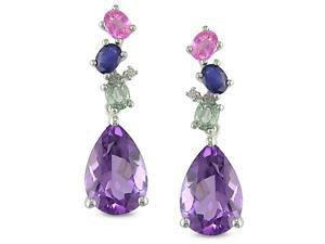 10k White Gold Multi-gemstone and Diamond Earrings