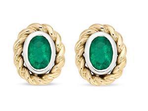 10K Two-tone  Emerald Earrings