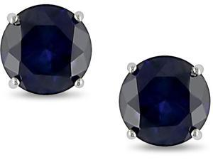 10KW  2.00ct  Rd Created Sapphire Solitaire Earrings