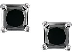 14K White Gold 1 ctw Black Diamond Solitaire Earrings
