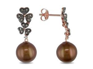 9-10mm  FW Pearl  Brown & White Diamond Earrings in 10k Pink Gold, I1-I2