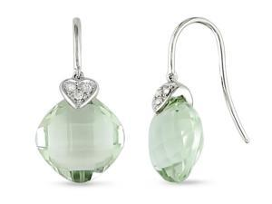 9 ct.t.w. Green Amethyst and Diamond Accent Earrings in 14k WG, GHI