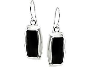 Sterling Silver Black Onyx Rectangle Earrings