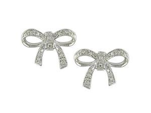 10k White Gold Diamond Bow Earrings
