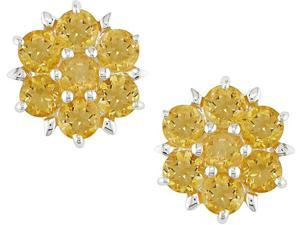 Silver 4mm Round Citrine Earrings