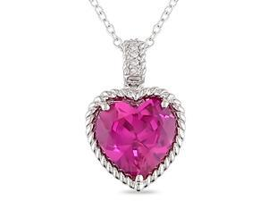 6 3/4ct Created Heart Pink Sapphire and Diamond Pendant in Sterling Silver, 18""