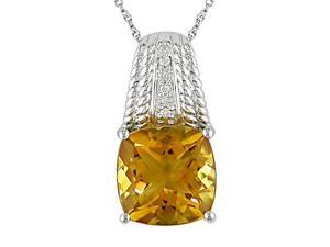 "4ct Citrine and Diamond Accent Pendant in 14k White Gold, 17"", H-I-J, I1-I2"