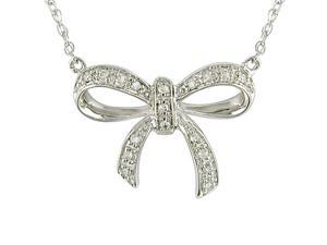 10k White Gold Diamond Bow Necklace