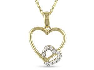 Diamond Accent Heart Shape Pendant in 10k YG, GHI, I2-I3, 17""