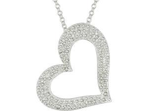 1 Carat Diamond Heart Pendant in Sterling Silver (J-K,I3), 18""