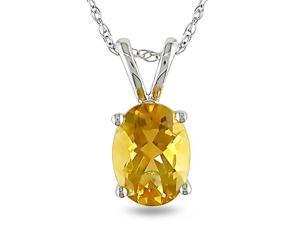"10k White Gold Fashion Pendant 1ct Citrine TGW 17"" 10KW Rope (6R) Chain"