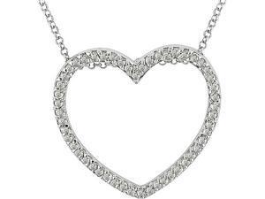 Sterling Silver 1/2 ctw Diamond Heart Pendant
