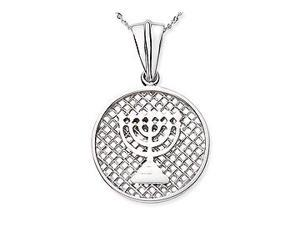 14k White Gold Menorah Necklace