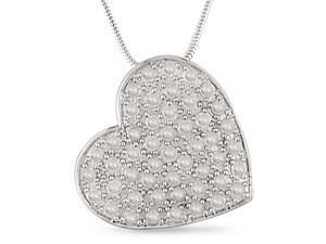 "1ct Diamond Heart Pendant in Silver, 18"", J-K, I3"