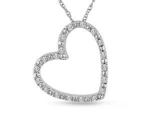 Diamond (1/10 ct.t.w.) Heart-Shape Pendant in 10k White-Gold