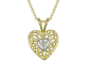 10K Yellow Gold .01 ctw Diamond Filigree Heart Pendant