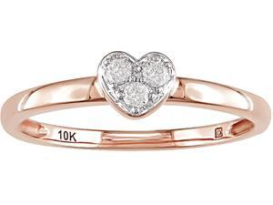 10K Pink Gold 1/10 ctw Diamond Heart Ring