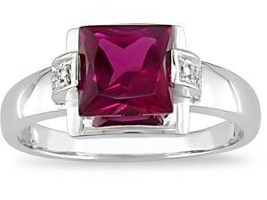 10k Gold Created Ruby and Diamond Accent Ring