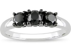 10k White Gold 1ct TDW Black Diamond 3-stone Ring