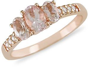 10K Gold Gold Morganite and 1/10ct TDW Diamond Ring