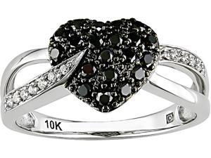 10K White Gold 1/3 ctw Black and White Diamond Heart Ring