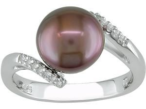 Sterling Silver FW Brown Pearl Diamond Ring