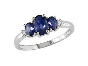 10K White Gold .02 ctw Diamond (I-J, I2-I3) and Created Sapphire Ring