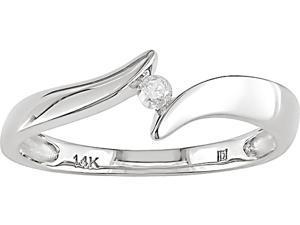 14K White Gold .05 ctw Diamond Swirl Tension Ring