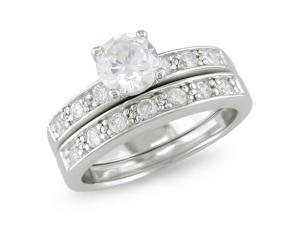 CZ Engagement & Wedding Ring Set in Sterling Silver