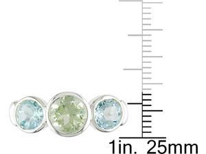Sterling Silver Green Amethyst and Blue Topaz Ring